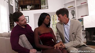 Two white dudes fuck face and wet dark pussy of ebony hooker Kandie Monaee